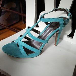 Loft Aqua Suede Strappy Stiletto Sandal Heel 8